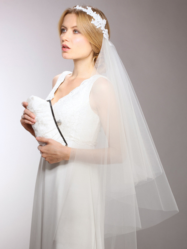 Couture asymmetrical bridal veil