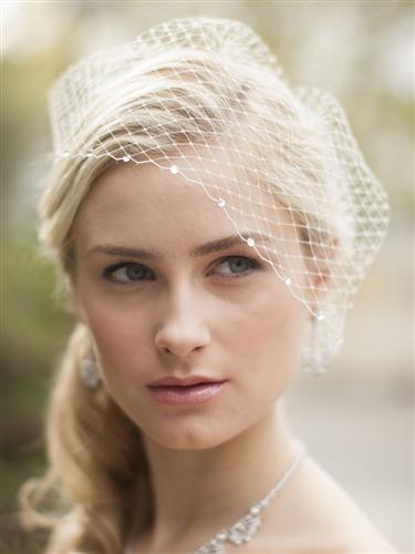 visor veil accented with shimmering Swarovski crystals
