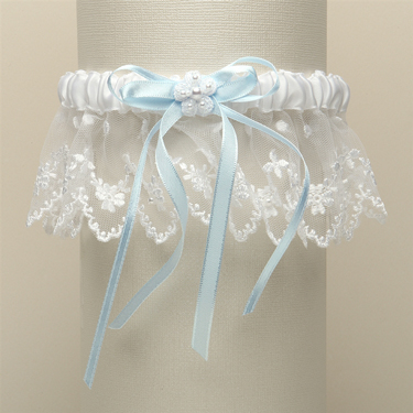 Garters are adorned with baby pearls