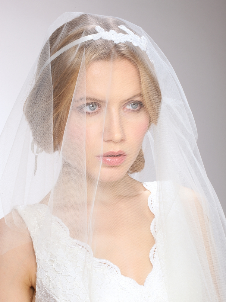 Couture Cascading One Sided Bridal Veil with White Lace Garland Headband  eb67062eb95