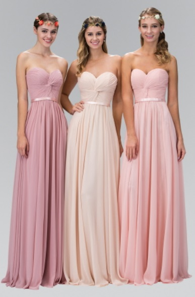 bridesmaid chiffon cress with pleated bodice